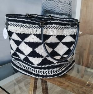Hand crocheted oversized tribal basket tote bag